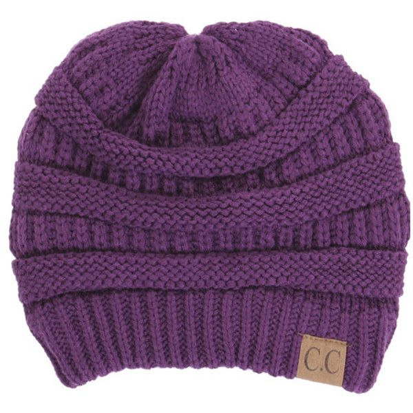 Women's Riverberry Chunky Cable Knit Beanie ($10) ❤ liked on Polyvore featuring tops, purple, unisex tops, short tops, slouchy tops and purple top