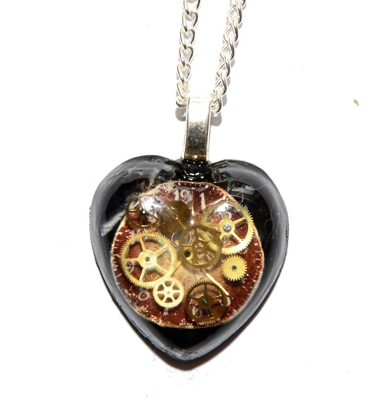 30 x 30mm Dr Who Inspired Steampunk 'Cracks in Time' Heart Necklace. Hand Made in Cornwall, UK by thelongwayround on Etsy