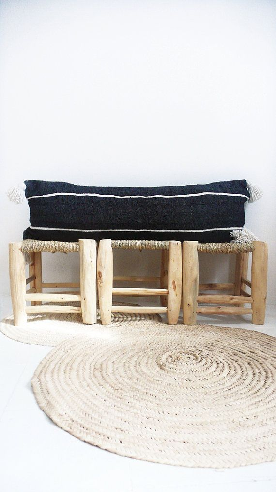 Moroccan POM POM Long Pillow cover - Cotton black an white stripes  Each of cushions cover is cut from an cotton Blanket, handwoven in Morocco on