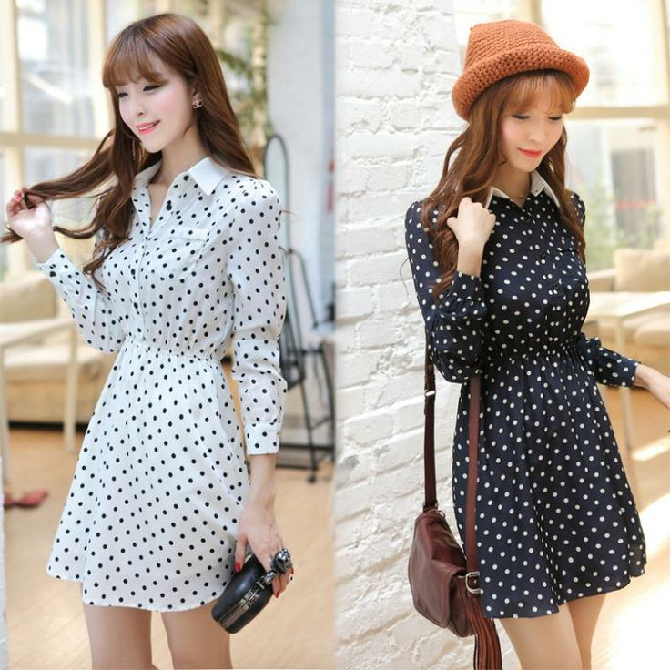 New Korean Style Women Dress 2014 Spring Long Sleeve Chiffon Lapel Pinched waist Polka Dot Dress Dark Blue White Black S/M/L $28.00