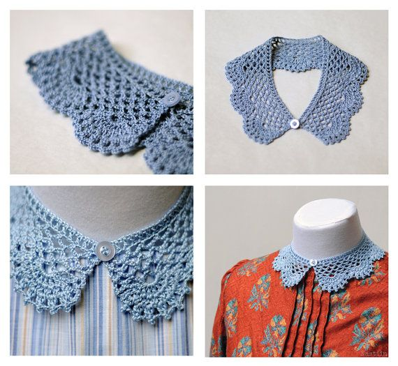 Blue crochet lace collar / detachable peter pan collar by Nastiin