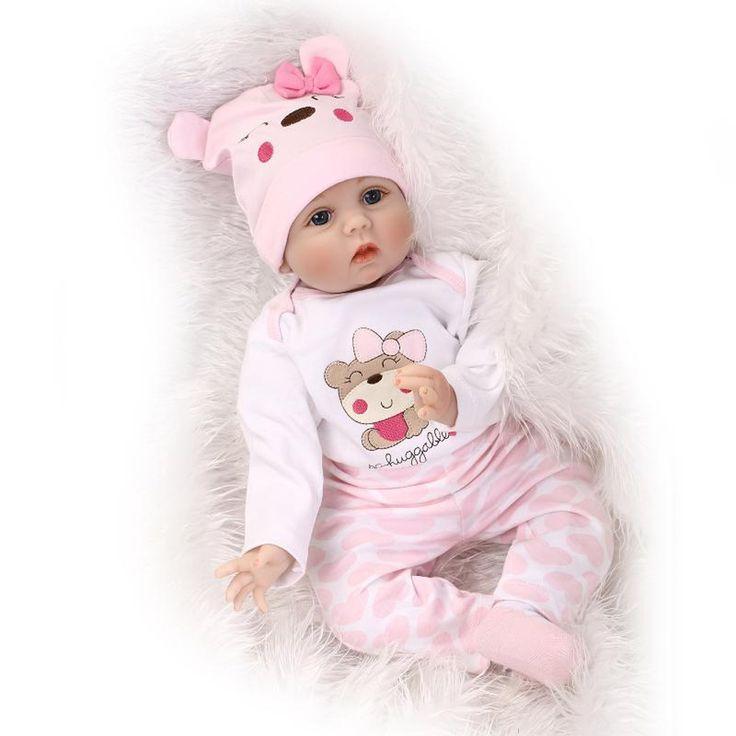 55 см Мягкое Тело Силикона Возрождается Детские Игрушки Куклы Для Девочек новорожденный Девочка Подарок На День Рождения Для Ребенка Перед Сном Раннее Образование игрушка купить на AliExpress