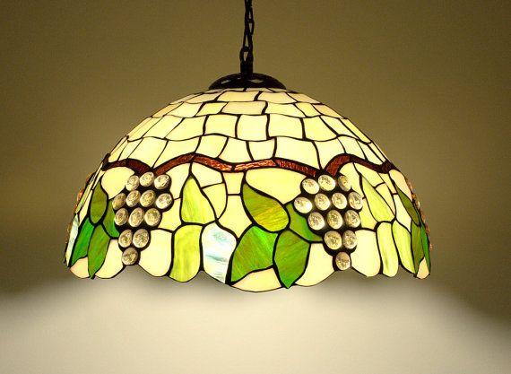 165 Tiffany estilo lámpara colgante. Lámpara de por AmberGlassArt