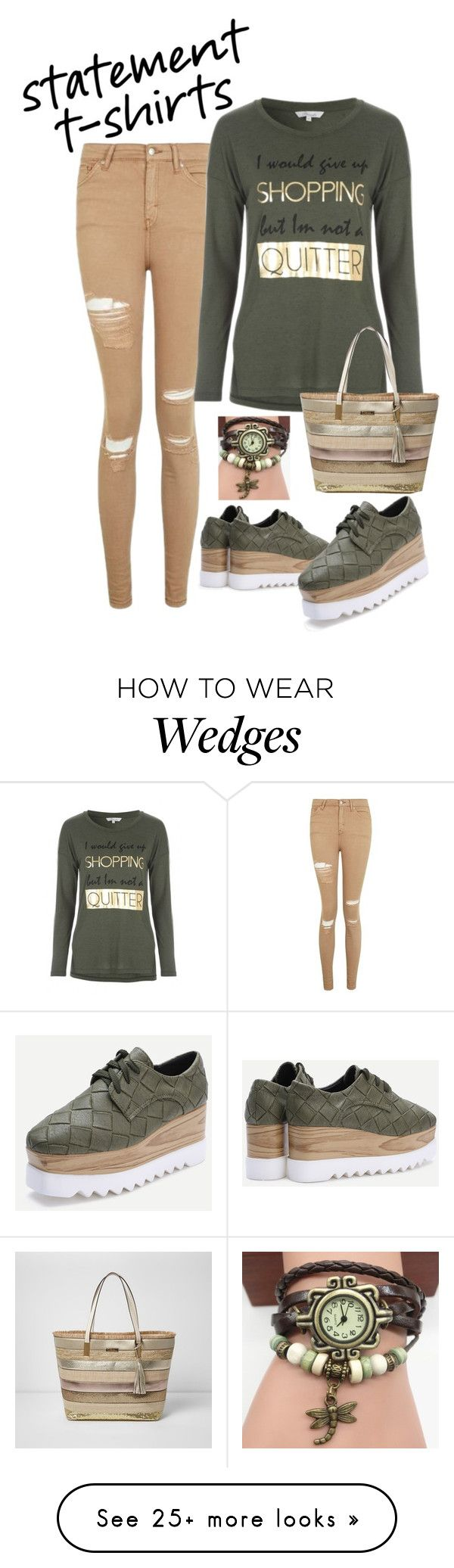 """""""Say It Loud: Slogan T-Shirts"""" by miriam-witte on Polyvore featuring Topshop and River Island"""