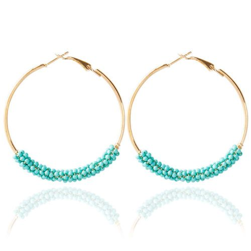 1,06 € - Beads in multiple colours hoops earrings