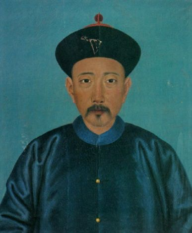 A portrait of a Chinese man wearing a royal blue silk coat with gold buttons and a black cap with red ornamentation by Jean-Denis Attiret