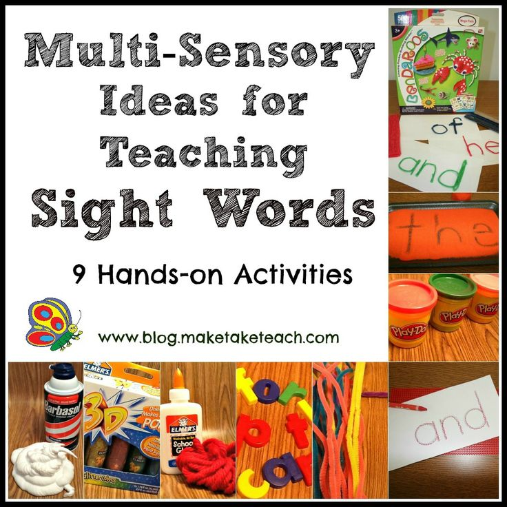 9 Multi-sensory ideas for teaching sight words. Free multi-sensory templates for the first 25 Dolch sight words
