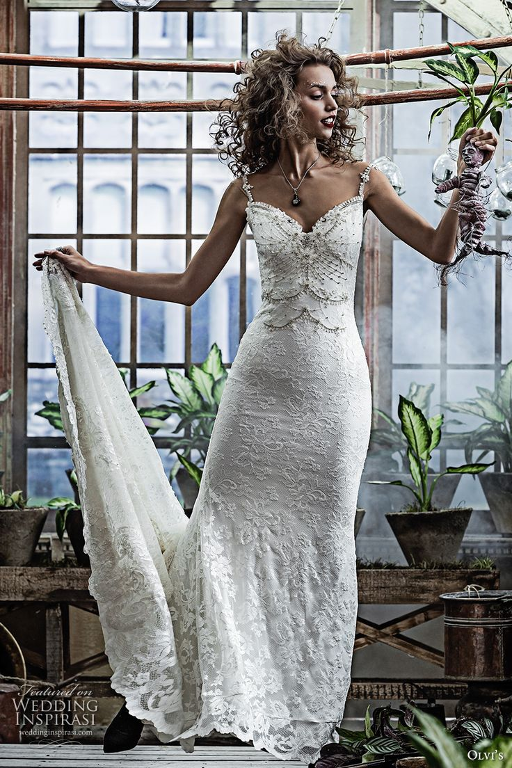olvis 2017 couture bridal spagetti strap sweetheart neckline full embellishment elegant sheath wedding dress low back chapel train (2276) mv
