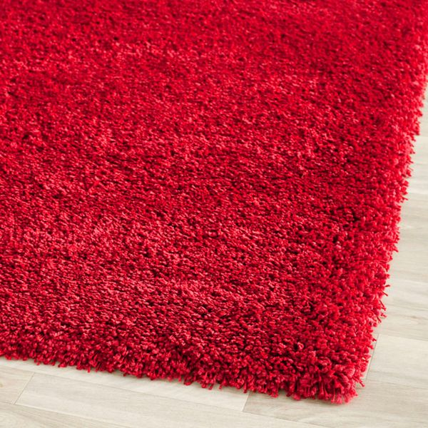 Red Fluffy Rug Home Decor