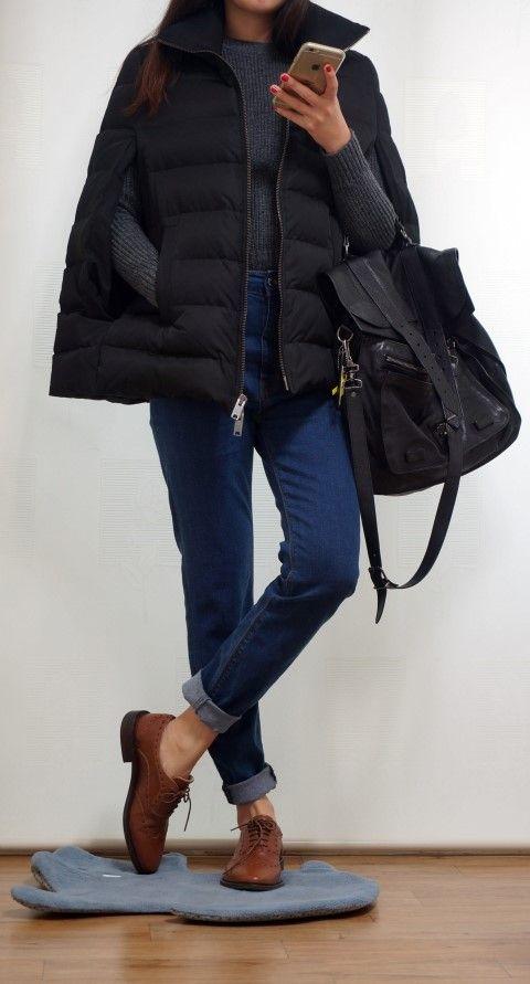 fashion, dkny, satchel, proenza schouler, zara, oxford, indigo blue jeans, grey knit, knitwear, dailylook, ps1