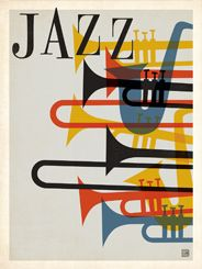 Mid-Century Jazz - Inspired by classic album cover art from the 1950s and 60s, this chic design will jazz up any home or office wall. This bold and brassy poster is printed on gallery-grade paper, so it's sure to be a favorite part of your decor for years to come.