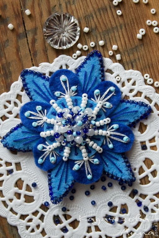 "Купить Брошь-цветок ""Небесно-синий"" - синий, голубой, брошь, брошь цветок, брошь из фетра"