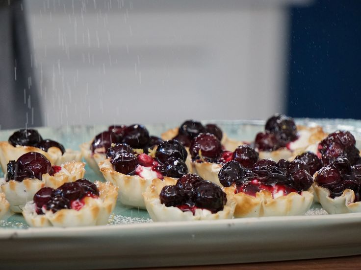 Blueberry Cheesecake Filo Cups recipe from Valerie's Home Cooking via Food Network