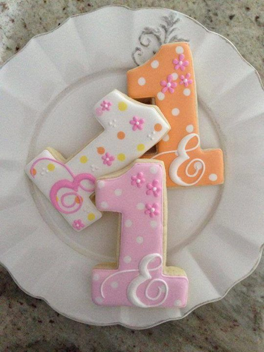 Pink and Orange Floral Number 1 & Ampersand Cookies