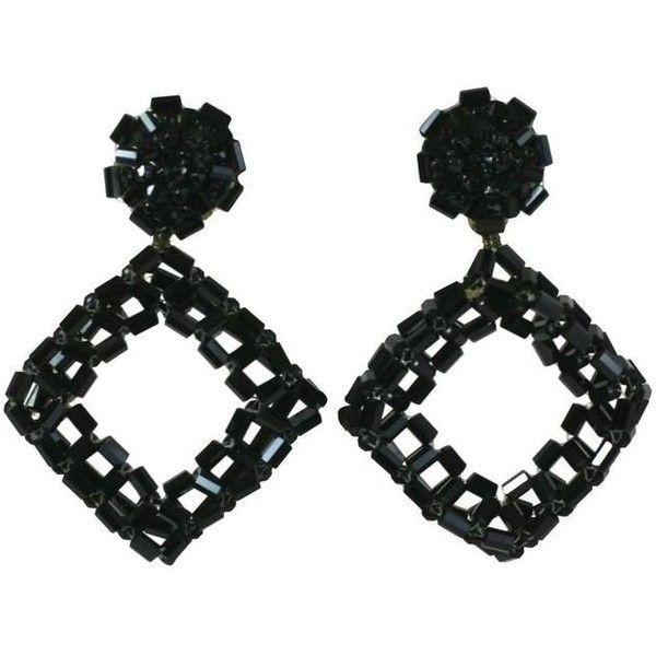 Preowned Coppola Etoppo Woven Jet Hoop Earclips ($1,295) ❤ liked on Polyvore featuring jewelry, earrings, black, beaded earrings, long earrings, coral earrings, beading hoop earrings and square pendant
