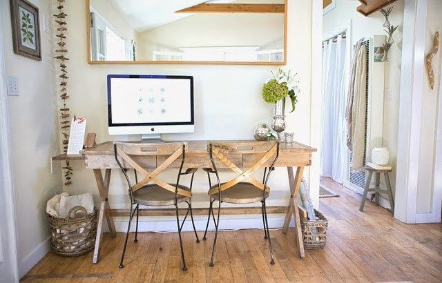 Cost Plus World Market Campaign Desk and matching chairs could double as dining table butted up against window in breakfast eat in kitchen.