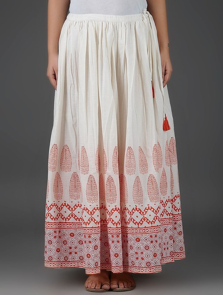 Buy Ivory Orange Block Printed Elasticated Tie up Waist Cotton Skirt Women…