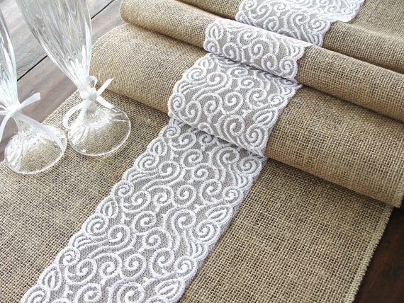 Burlap table runner wedding table runner with white lace rustic table decor ,  handmade in the USA