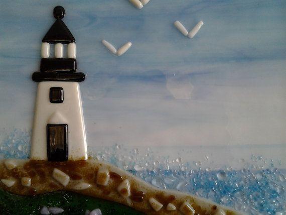 Fused Glass Art Glass Seascape Lighthouse Beach by AngelasArtGlass