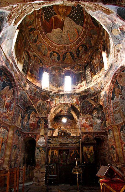 "Pantokrator - interior of ""Agioi Apostoloi"" (Saints Apostles) church in Pyrgi village, Pyrgi, Hios, Greece Copyright: Hercules Milas"
