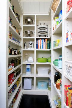 Pantry has different depth shelves.  Traditional Kitchen - traditional - kitchen - other metro