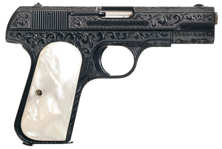 Engraved Colt Model 1903 Hammerless Semi-Automatic Pocket Pistol with Pearl Grips
