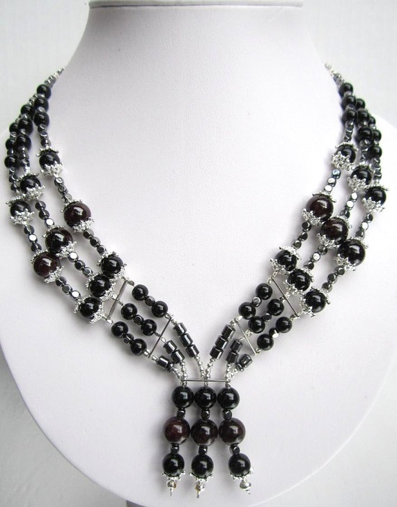 Luxurious onyx and garnet beaded necklace by StoneAndShadow on Etsy, $60.00