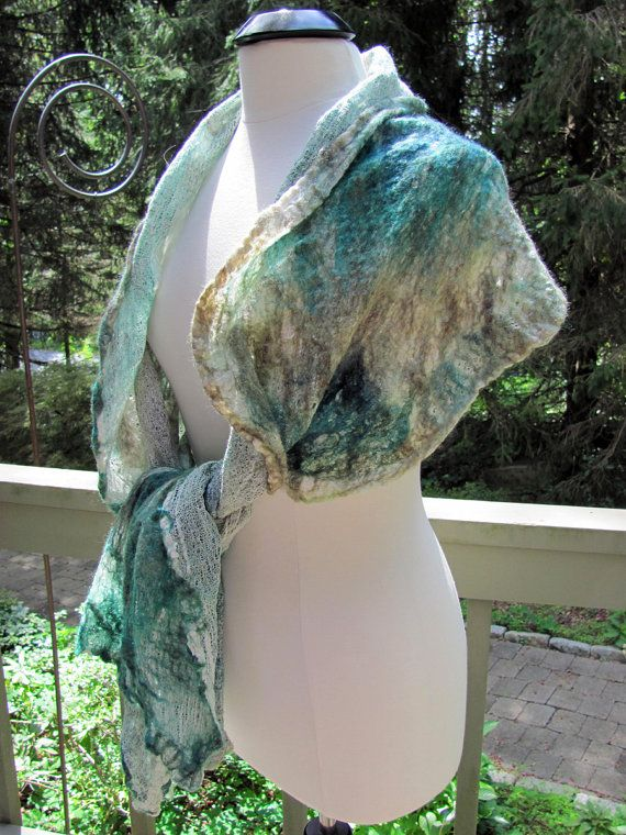 Gauzey Teal & Taupe Wool/Silk Nuno Felted by FenwoodDesigns