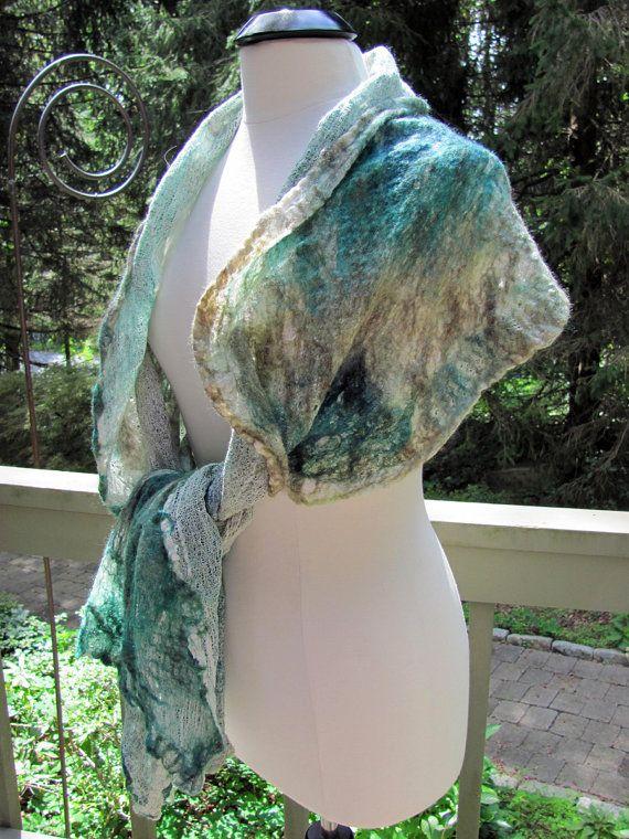 Gauzey Teal & Taupe Wool/Silk Nuno Felted by FenwoodDesigns