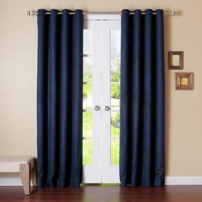 Best Home Fashion 84 In L Navy Suede Blackout Curtain 2 Pack Navy Faux Suede Insulated Blackout Curtains Blackout Curtains French Country Living Room