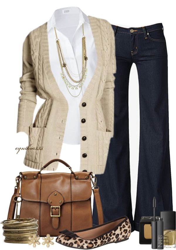 """""""Comfy Cardigan with Wide Leg Jeans"""" by cynthia335 on Polyvore"""