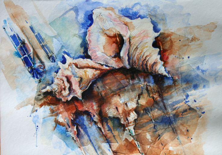 Olga Vinnitskaya. Muscheln auf Chinapapier, Tusche,  Aquacryl und Tinte auf Papier.
