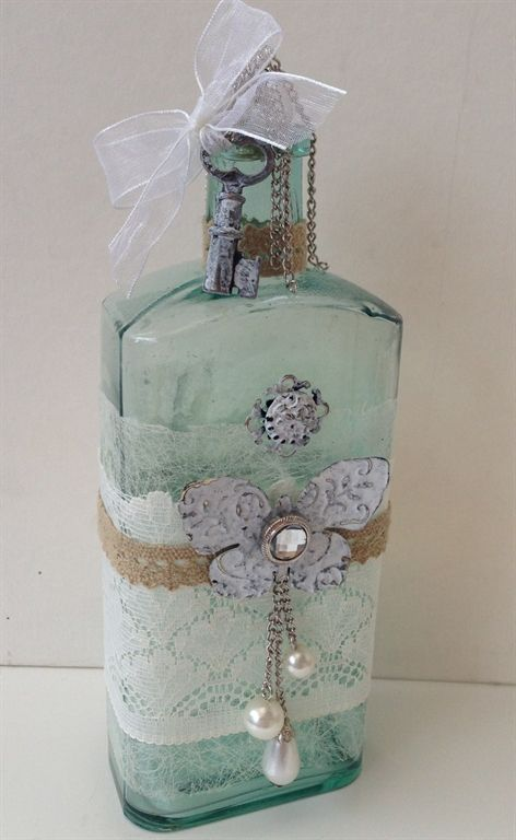 altered vintage bottles  | Vintage altered shabby chic bottle