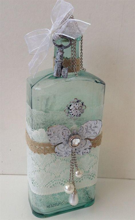 altered vintage bottles  | Vintage altered shabby chic bottle by: Angel-23