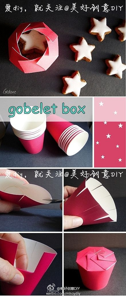 making a very nice box using old cups. A give-a-way box for kids birthdays