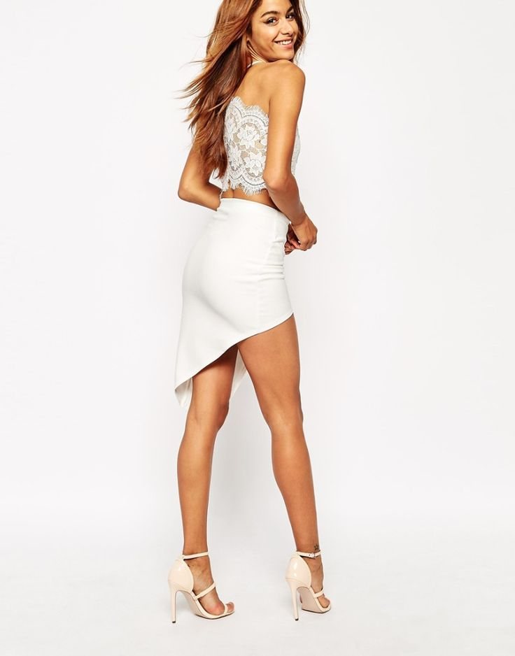 White lace cross back crop top with skirt and heeled sandals. Buy it here: http://justbestylish.com/10-best-crop-tops-for-summer-2015/10/
