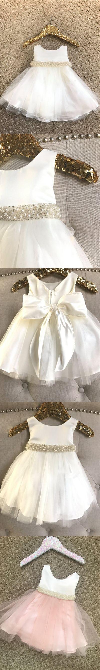 2017 Flower Girl Dresses Cute Ivory Pink Bowknot Beading Tulle JKF018