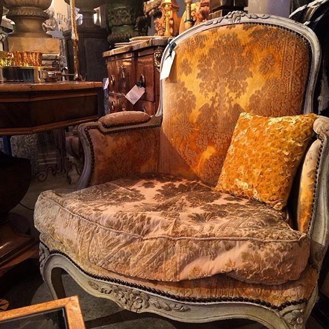 @thecountrytrader's exquisite French LXV Arm Chair C1840 features original grey paint and saffron gauffrage velvet! #thecountrytrader #armchairs #vintagearmchair #frenchdesign #frenchinteriors #velvetchairs #interiors #vintagefurniture