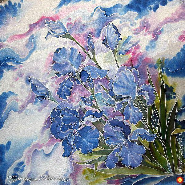 Синие ирисы - батик, авторские шарфы и платки. МегаГрад - мега-портал авторской ручной работы