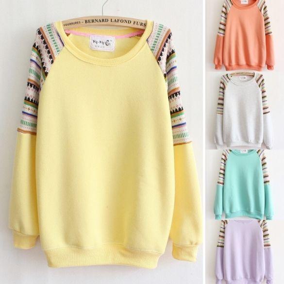 Mix color knitted embroidery sleeve high quality fleece inside women's hoodies warm sweatshirts