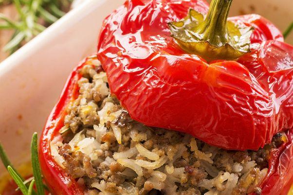 Turkey & Rice Stuffed Peppers