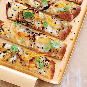 Cheesy Caramelized Onion Flatbreads Recipe