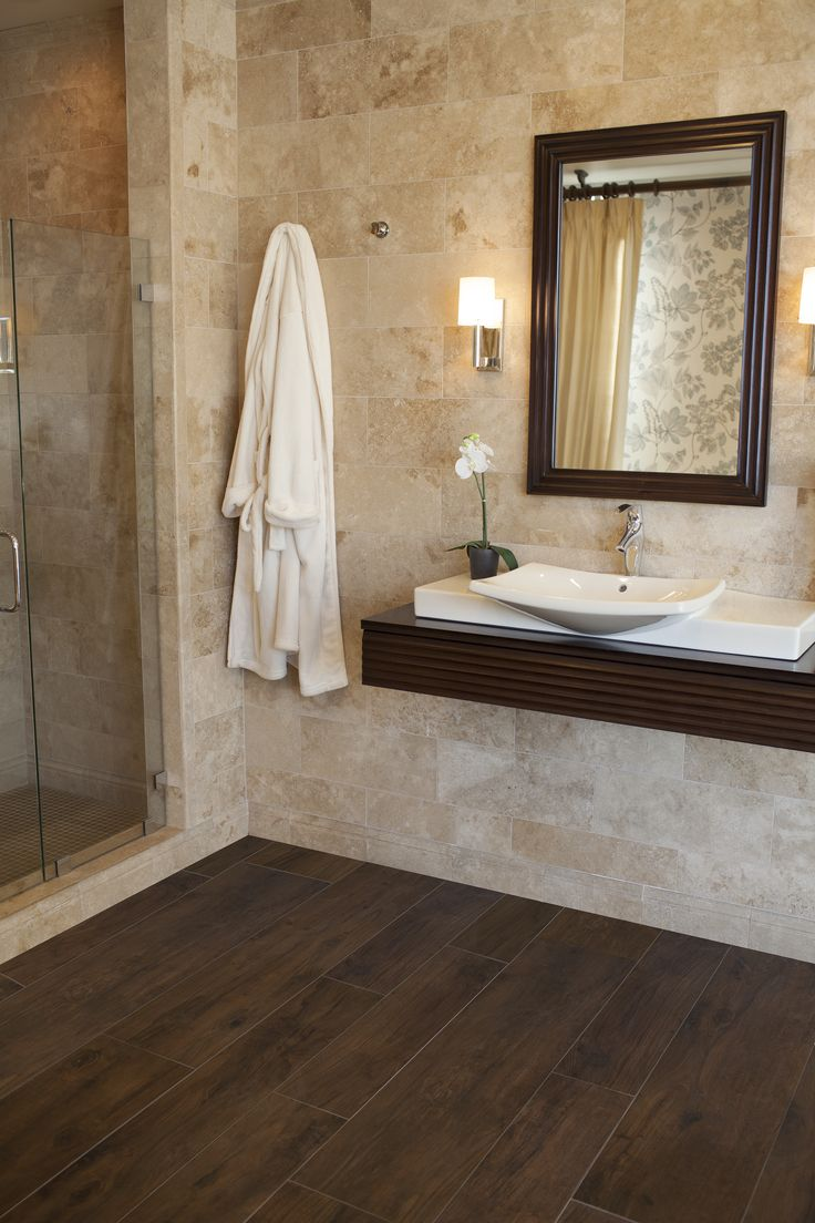 17 best ideas about faux wood tiles on pinterest master for Hardwood floor in bathroom