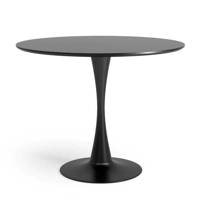 The sculptural tulip-style of this Dining Table evokes a sensuous artistic appeal with a minimalist, clutter-free quality that allows guests to comfortably linger. The matte lacquer finished top is supported by a sturdy powder-coated steel base. Comfortably seats four; however, an additional chair can always be added for friendly guests. This timeless classic table celebrates the legacy of great design at a truly affordable price.