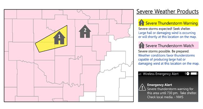 Map showing Severe Thunderstorm Watch and warning areas. see text explanation of watch and warning below.
