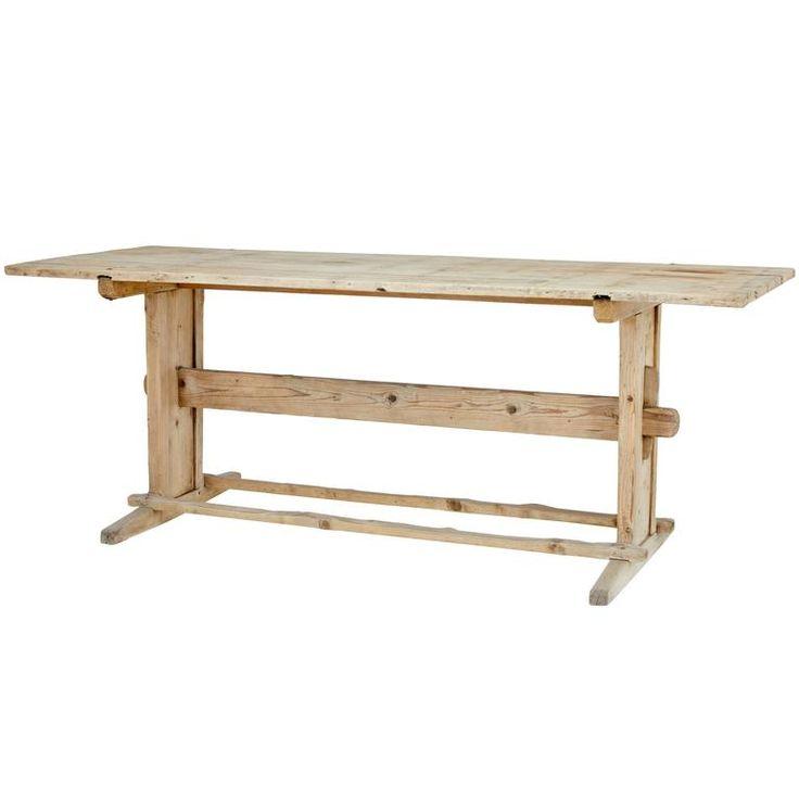 19th Century Rustic Pine Trestle Table