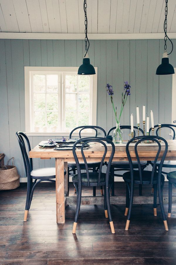 paint the desk chairs black, and put with the long wood craft table by the window, under the pulley lamp!!! <3 (use the chair that is already purple, and maybe grab those black wire chairs from the shop)