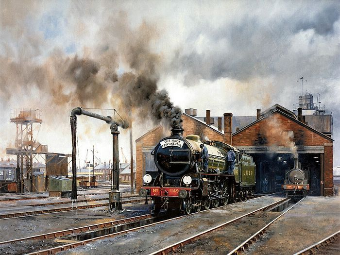 steam trains british in paintings - www.wallcoo.com - Howard Fogg