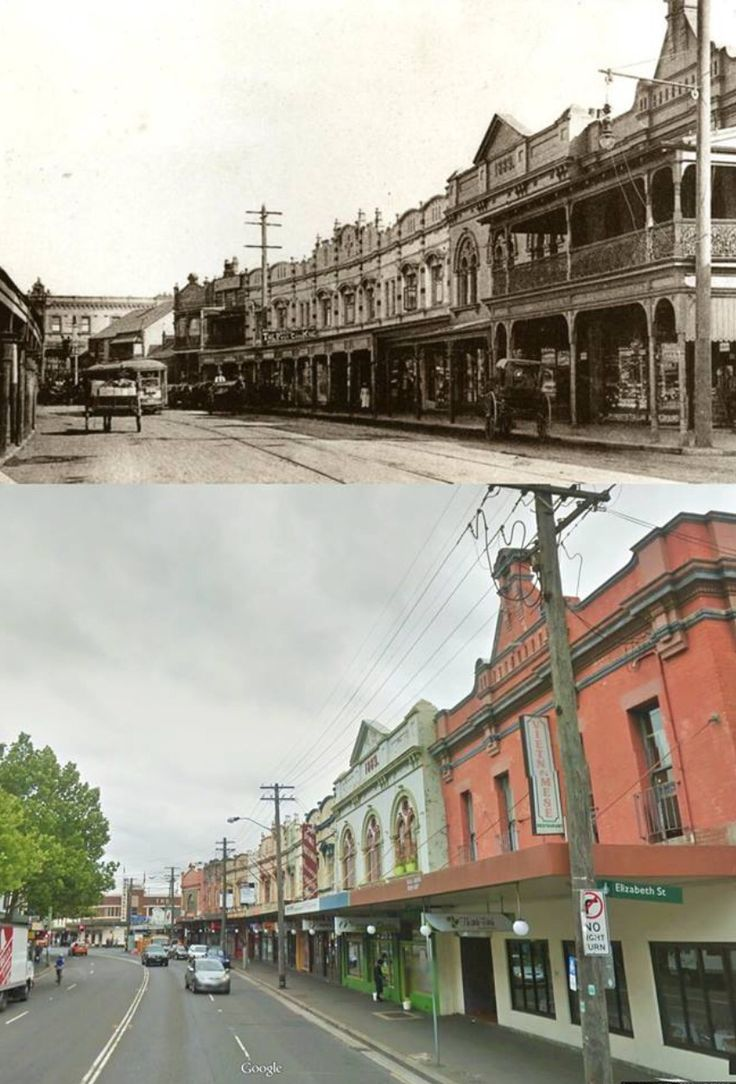 King Street, Newtown c1910 and 2014. [c1910 - @cityofsydney>2014 - Google Street View/by Kevin Sundgren]