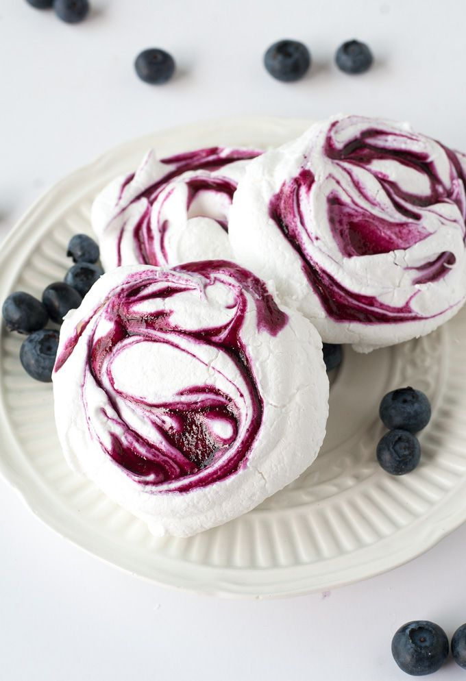 Simple, elegant and beautifully swirled - these blueberry meringue cookies are easy to make and will have you looking the a master pastry chef!